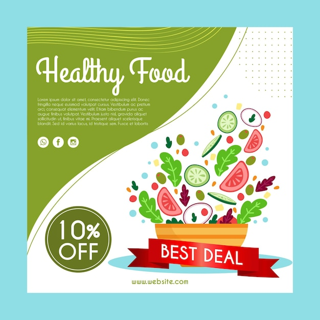 Kwadratowa Ulotka Ze Zdrowym Jedzeniem Dla Restauracji Darmowych Wektorów