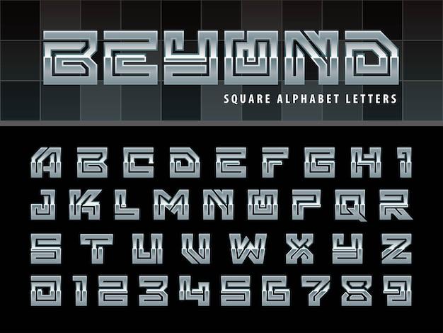 Kwadratowe Litery Alfabetu, Jedna Liniowa Stylizowana Zaokrąglona Czcionka Premium Wektorów