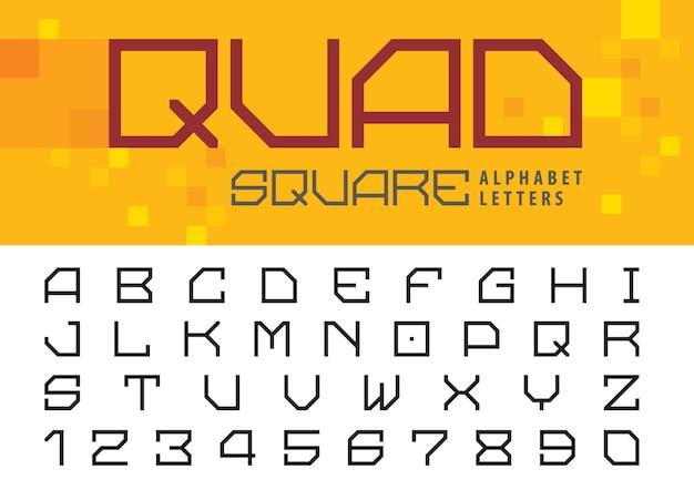 Kwadratowe litery i cyfry Premium Wektorów