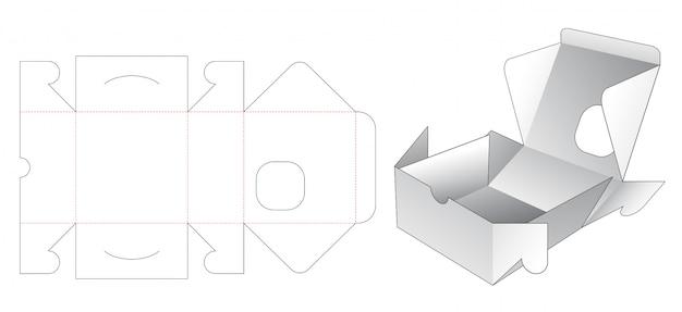 Kwadratowe Pudełko Piekarni Z Szablonem Wycinanym W Kwadratowe Okno Premium Wektorów