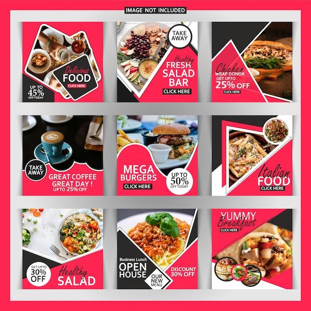 Kwadratowy banner restauracji lub post na instagram Premium Wektorów