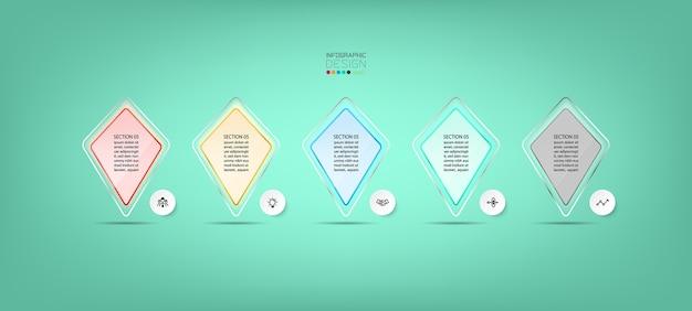 Kwadratowy Latawiec W Formie Szklanej Nowoczesnej Konstrukcji Premium Wektorów