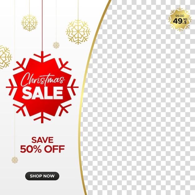 Kwadratowy świąteczny sztandar sprzedaż dla sieci web, instagram i mediów społecznościowych z pustą ramkę Premium Wektorów