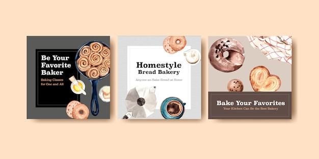 Kwadratowy Szablon Postu Na Instagramie Z Projektem Piekarni I Ilustracją Akwareli Darmowych Wektorów