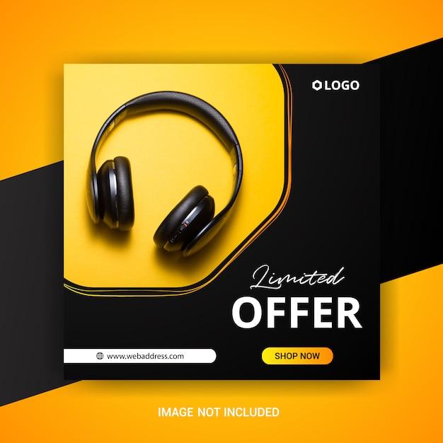 Kwadratowy Szablon Transparent Sprzedaż Ze Słuchawkami Premium Wektorów