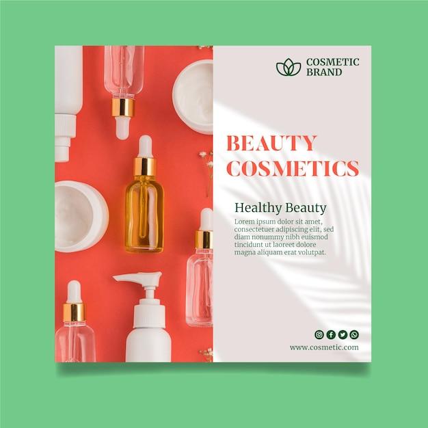 Kwadratowy Szablon Ulotki Kosmetycznej Premium Wektorów