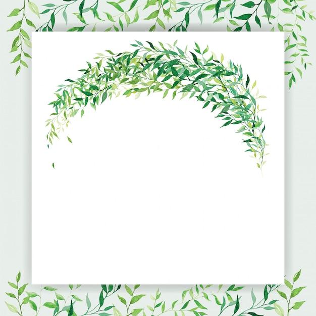 Kwadratowy Szablon Zaproszenia ślubne W Kolorze Białym I Zielonym, Ozdobiony Motywem Kwiatowym W Stylu Akwareli Darmowych Wektorów