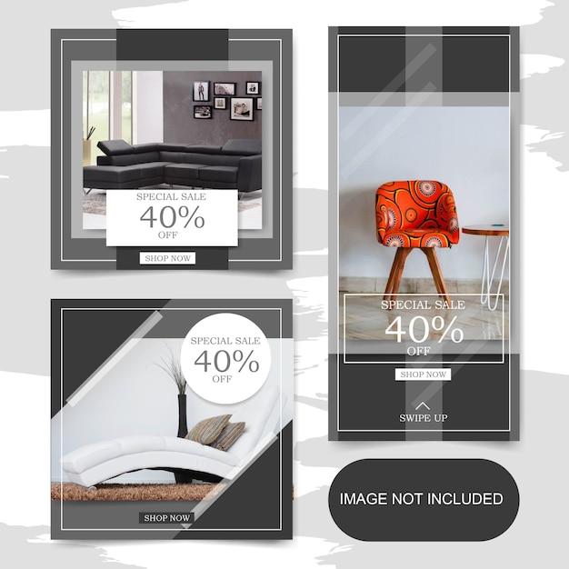 Kwadratowy sztandar sprzedaży mebli do wnętrz i fabuła na post na instagramie Premium Wektorów