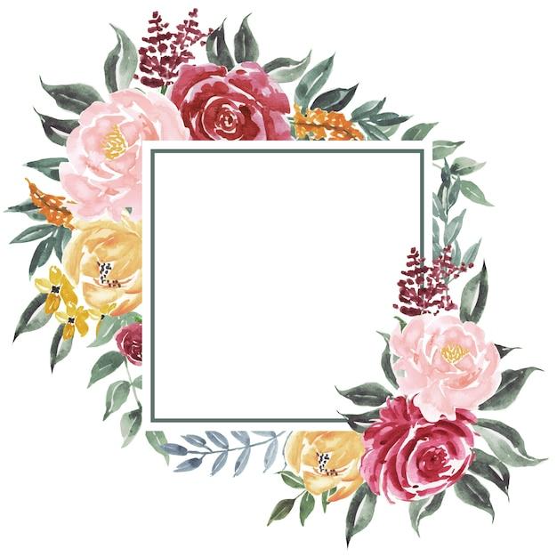 Kwadratowy Tło Rocznik Akwareli Kwiaty Premium Wektorów