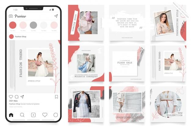 Kwadratowy Układanki Plakat Na Instagramie I Facebooku. Baner Społecznościowy Do Promocji Sprzedaży Mody Premium Wektorów