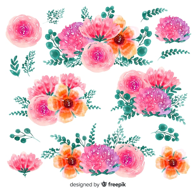 Kwiat kwiatowy akwarela ręcznie rysowane tła Darmowych Wektorów