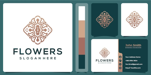 Kwiat Luksusowy Projekt Z Szablonu Wizytówki Premium Wektorów