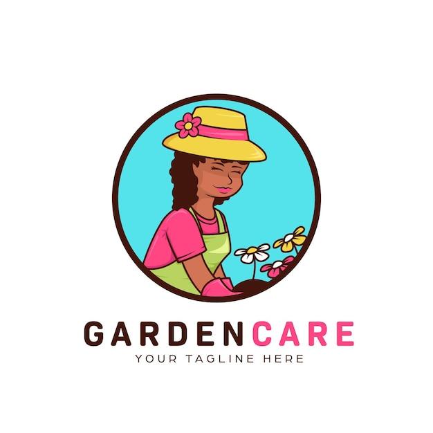 Kwiat Ogrodnictwo Krajobraz I Logo Pielęgnacji Trawników Z Ilustracją Skromnej Afrykańskiej Ogrodniczki Premium Wektorów