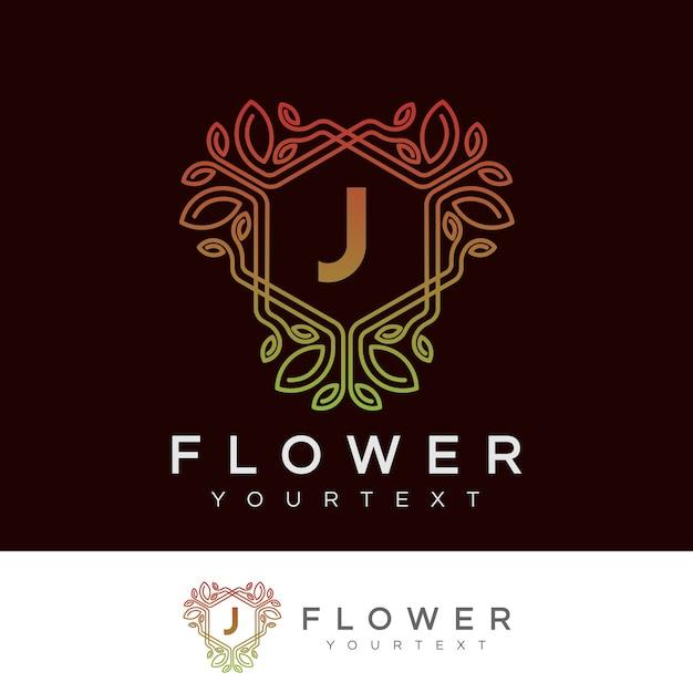 Kwiat Początkowa Litera J Logo Projektu Wektor Premium Pobieranie