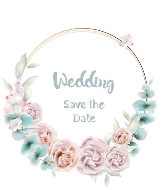 Kwiat róży okrągły karta akwarela. zaproszenia ślubne lub pozdrowienia w stylu retro vintage Premium Wektorów
