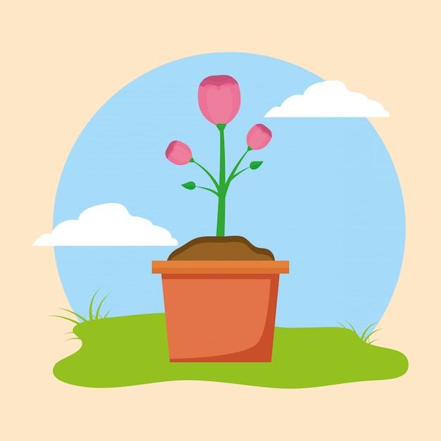 Kwiat w doniczce Darmowych Wektorów
