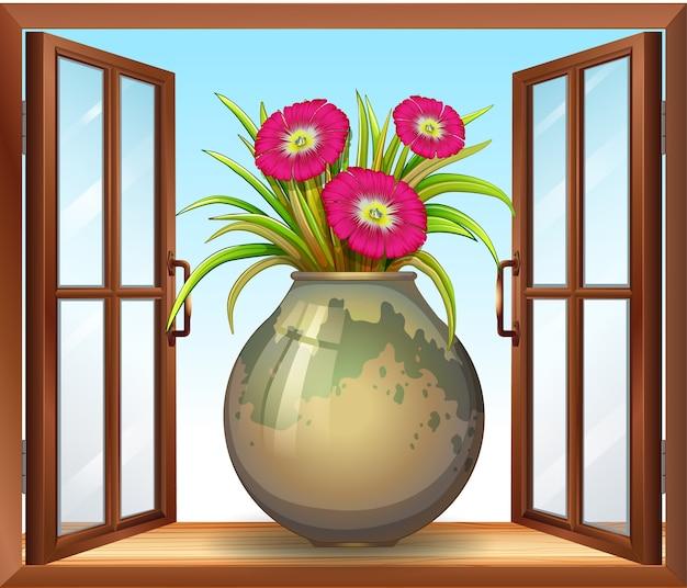 Kwiat W Wazonie W Pobliżu Okna Darmowych Wektorów