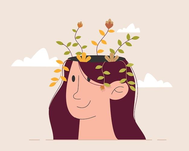 Kwiat Wewnątrz Głowy Kobiety Premium Wektorów