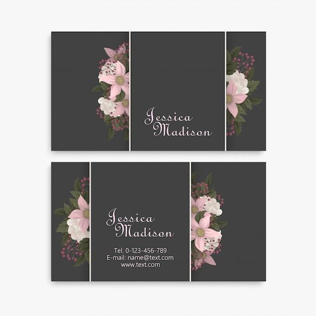 Kwiat Wizytówki Różowe Kwiaty Premium Wektorów