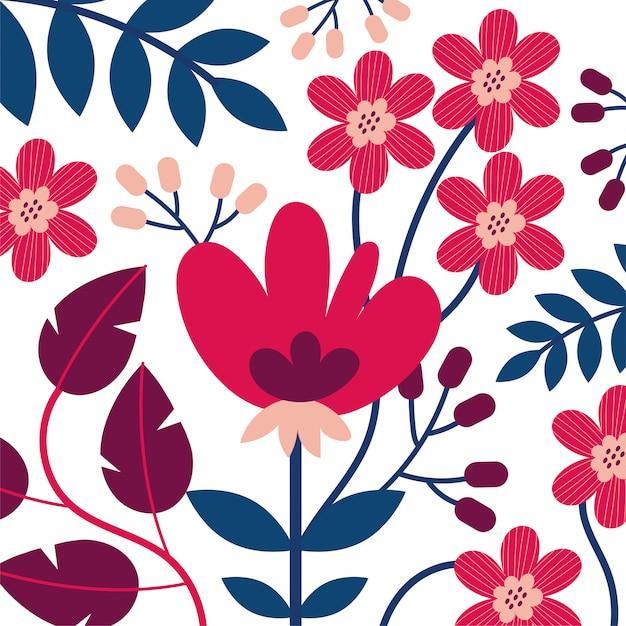 Kwiatów I Liści Ogrodowa Ilustracja Premium Wektorów