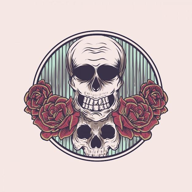 Kwiatowa czaszka Premium Wektorów