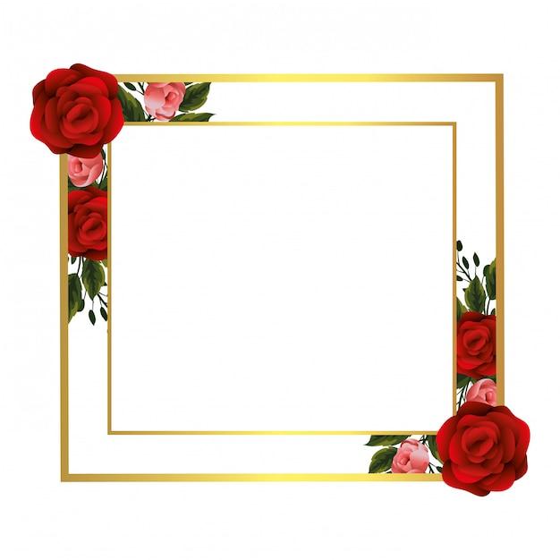 Kwiatowa ramka z różami Premium Wektorów