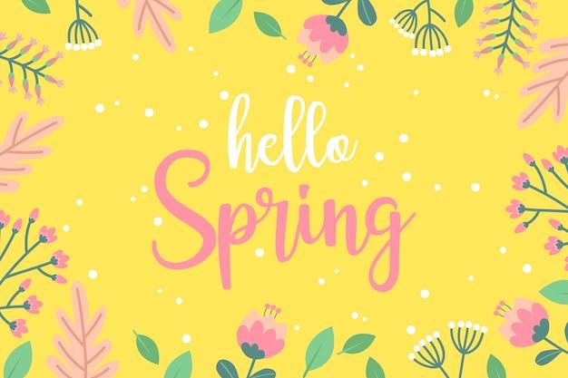 Kwiatowa Tapeta Witaj Wiosnę Darmowych Wektorów