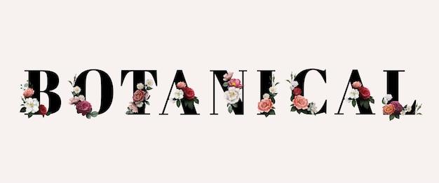 Kwiatowa typografia botaniczna Darmowych Wektorów