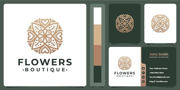 Kwiatowe Luksusowe Logo Butiku Z Projektem Wizytówki Premium Wektorów