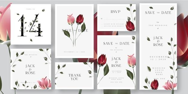 Kwiatowe róże ślub zapisz karty z zaproszeniem Premium Wektorów