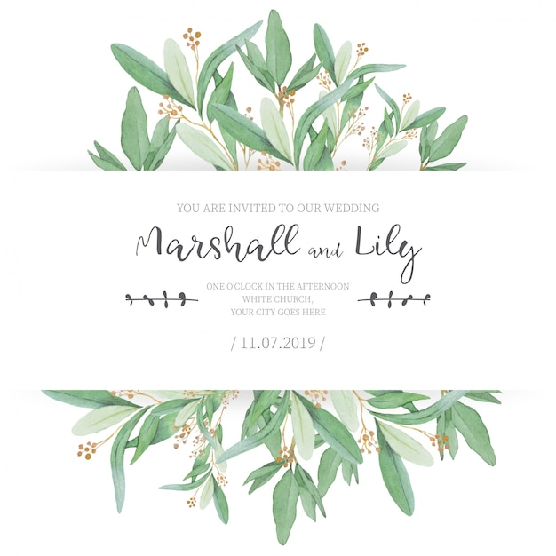 Kwiatowe zaproszenie na ślub z ozdobnymi liśćmi Darmowych Wektorów