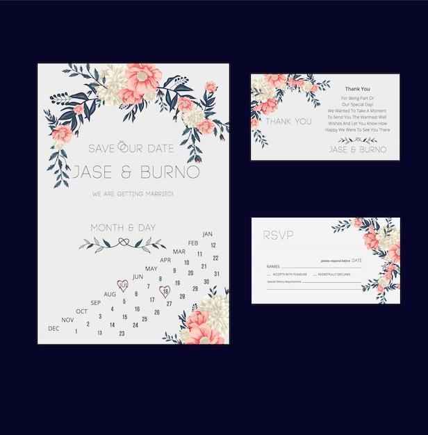 Kwiatowe zaproszenie na ślub i kolekcja kart rsvp Premium Wektorów