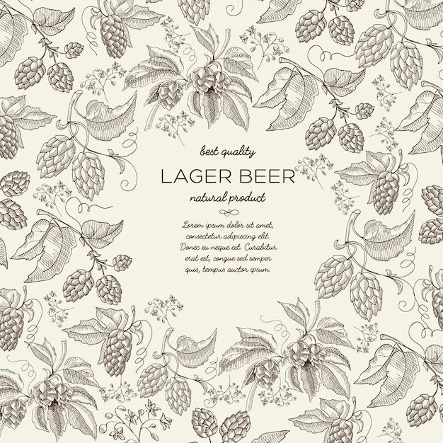 Kwiatowy Botaniczny Ręcznie Rysowane Szablon Z Tekstem I Piwem Ziołowe Gałęzie Chmielu Na światło Darmowych Wektorów
