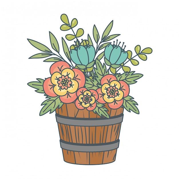 Kwiatowy charakter kwiaty kreskówka Darmowych Wektorów
