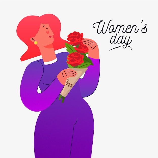 Kwiatowy Dzień Kobiet Z Bukietem Kobiety Gospodarstwa Darmowych Wektorów