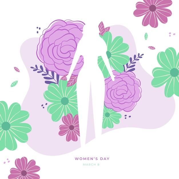 Kwiatowy Dzień Kobiet Z Kobiecą Sylwetką Darmowych Wektorów