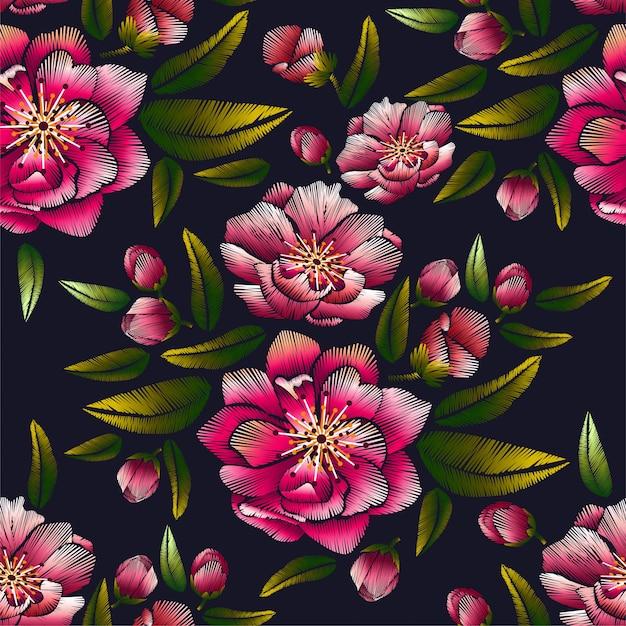 Kwiatowy Haft Z Wzorem Kwiat Wiśni Premium Wektorów