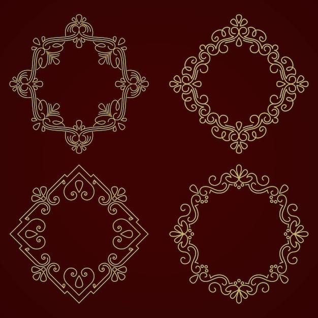 Kwiatowy i geometryczne monogram ramki na ciemnoszarym tle Darmowych Wektorów