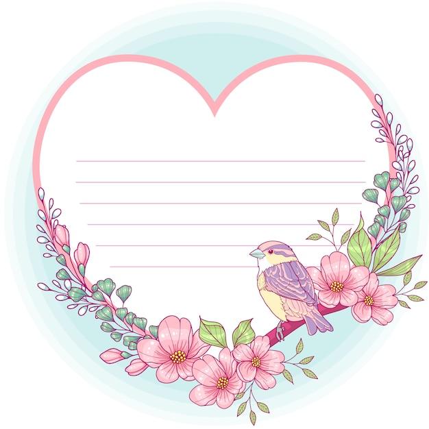 Kwiatowy Kartkę Z życzeniami W Kształcie Serca Premium Wektorów