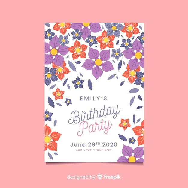 Kwiatowy Koncepcja Zaproszenia Urodzinowego Darmowych Wektorów