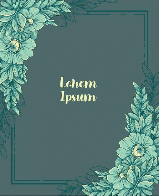Kwiatowy ornament w ramce z wygrawerowanym wzorem Premium Wektorów