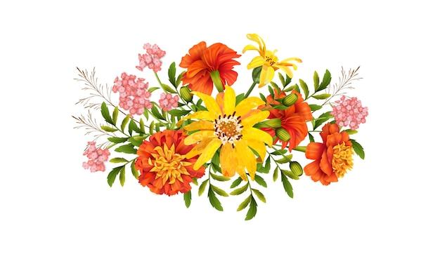 Kwiatowy Projekt. Piękny Bukiet Jesiennych Kwiatów Na Białym Tle Premium Wektorów