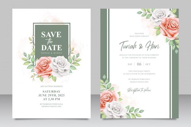 Kwiatowy rama uniwersalna karta zaproszenie na ślub zestaw szablonu Premium Wektorów