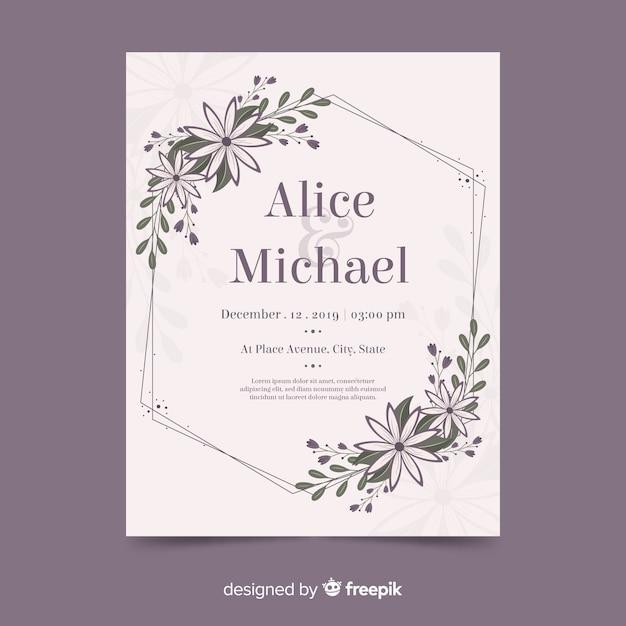 Kwiatowy rama zaproszenie na ślub z płaskim Darmowych Wektorów