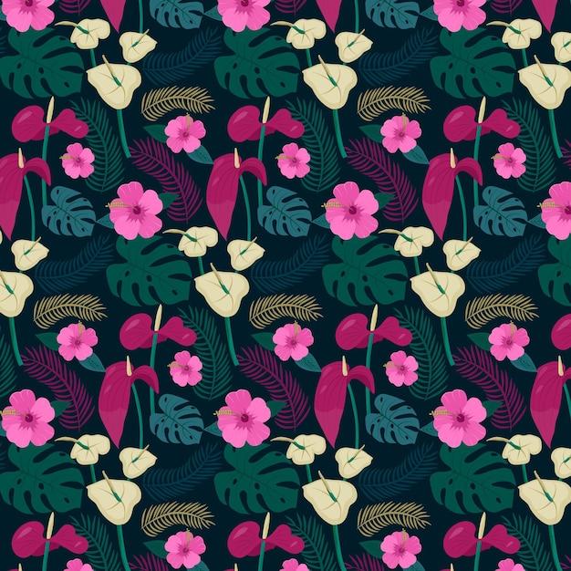 Kwiatowy Ręcznie Malowany Wzór Tkaniny Darmowych Wektorów