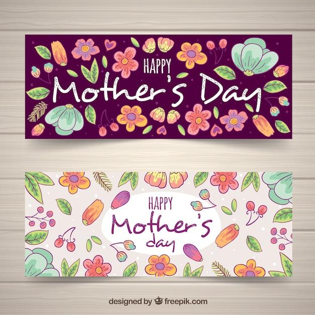 Kwiatowy Ręcznie Rysowane Banery Na Dzień Matki Darmowych Wektorów