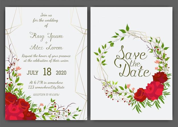 Kwiatowy ręcznie rysowane ramki na zaproszenie na ślub Premium Wektorów