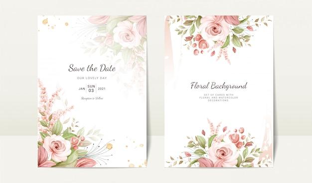 Kwiatowy ślub Szablon Zaproszenia Zestaw Z Brązowy Akwarela Róży I Liści Dekoracji. Koncepcja Projektu Karty Botanicznej Premium Wektorów