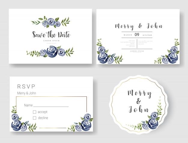 Kwiatowy ślub zaproszenia karty szablon stylu przypominającym akwarele Premium Wektorów