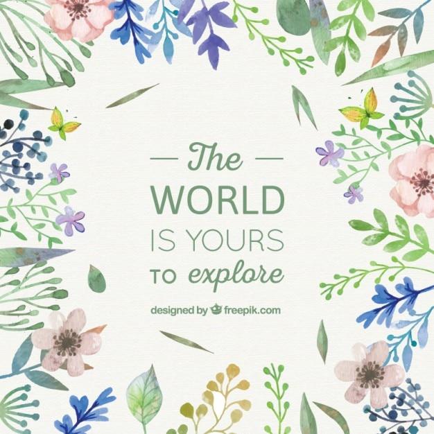 Kwiatowy świecie fraza Darmowych Wektorów